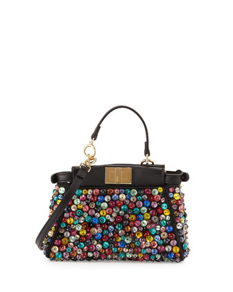 Peekaboo Micro Embellished Satchel Bag, Black/Multi