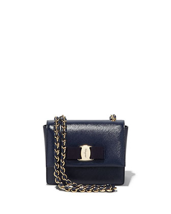 Ginny Mini Saffiano Crossbody Bag, Oxford Blue