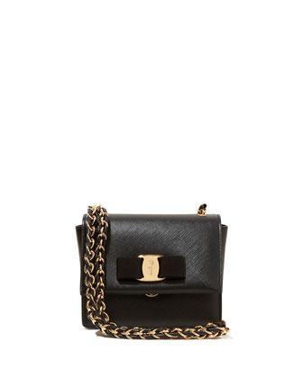 Ginny Mini Saffiano Crossbody Bag, Nero