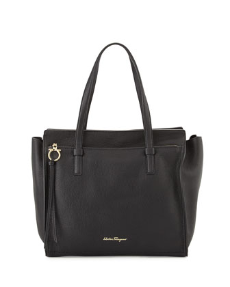 Amy Large Leather Tote Bag, Nero