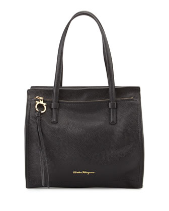 Amy Medium Leather Tote Bag, Nero