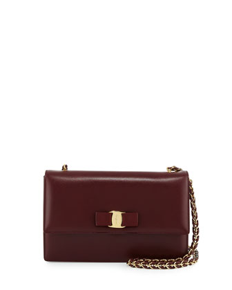 Ginny Medium Saffiano Shoulder Bag, Rouge Noir