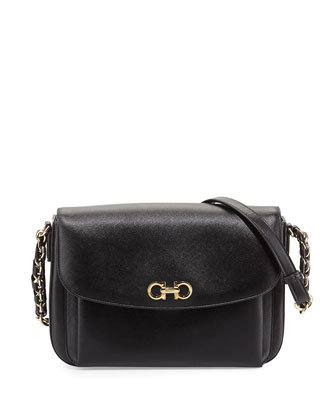 Sandrine Medium Saffiano Shoulder Bag, Nero/Gold