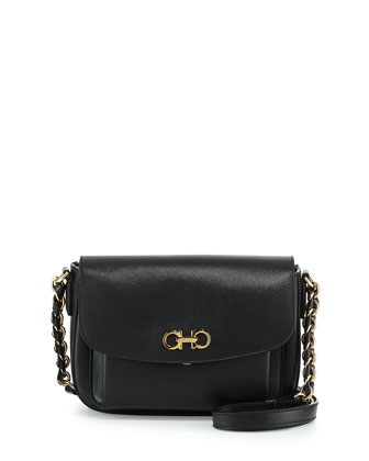 Sandrine Small Flap Shoulder Bag, Nero