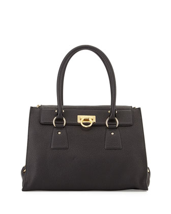 Lotty Medium Leather Satchel Bag, Nero