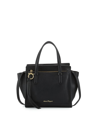 Amy Small Leather Tote Bag, Nero
