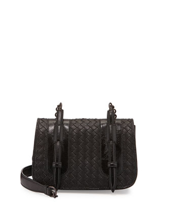 Woven Napa & Snakeskin Flap Bag, Black