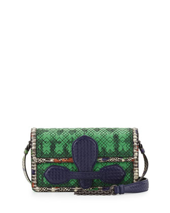 Watersnake Embroidered Shoulder Bag, Green