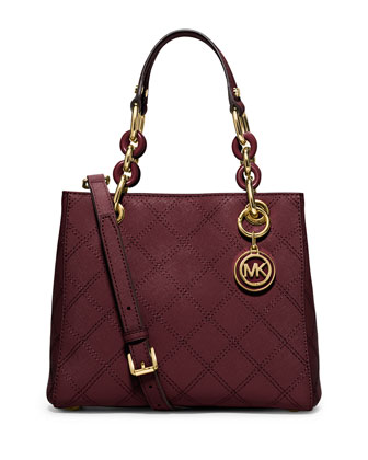 Cynthia Small North-South Quilted Satchel Bag, Merlot