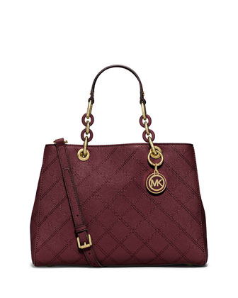 Cynthia Medium Quilted Satchel Bag, Merlot