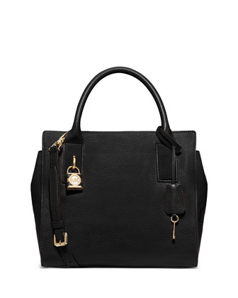 Mckenna Medium Satchel Bag, Black