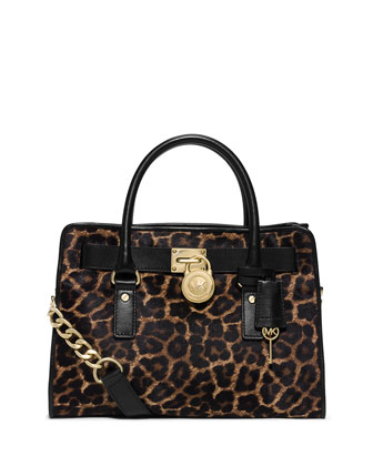 Hamilton Cheetah-Print Calf Hair Satchel Bag