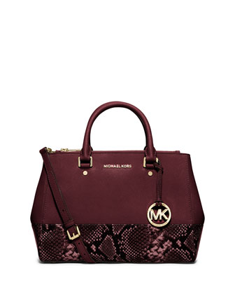Sutton Medium Snake-Print-Trim Satchel Bag, Merlot