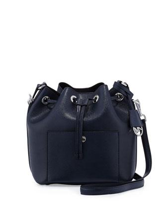 Greenwich Medium Bucket Bag, Navy/Black