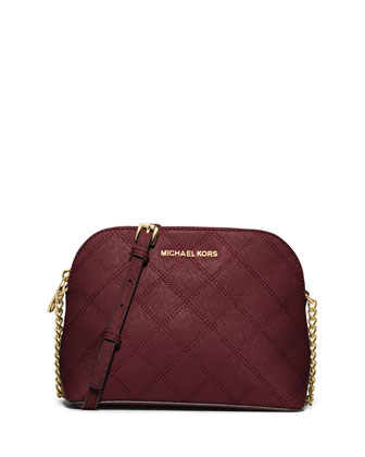 Cindy Large Dome Quilted Saffiano Crossbody Bag, Merlot
