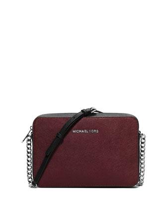 Jet Set Travel Large Saffiano Crossbody Bag, Merlot/Black