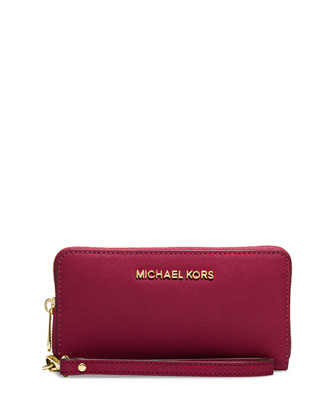 Jet Set Travel Saffiano Multifunction Tech Wristlet Wallet, Merlot