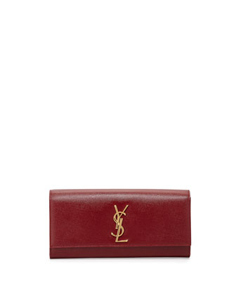 Monogram Calfskin Clutch Bag, Bordeaux