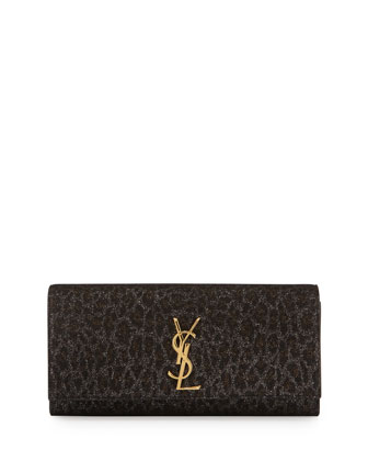 Monogram Leopard-Print Clutch Bag, Black