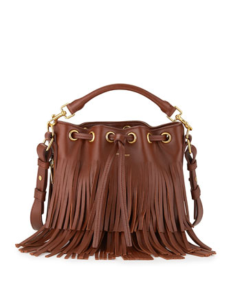 Emmanuelle Small Leather Fringe Bucket Bag, Cognac