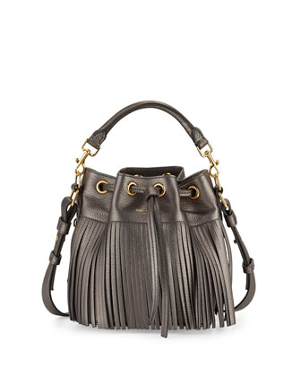 Emmanuelle Fringe Metallic Small Bucket Bag, Pewter