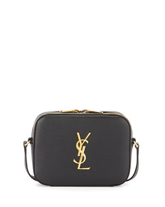 Monogram Camera Small Calf Crossbody Bag, Black