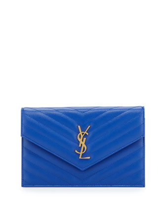 Monogram Chevron Quilted Shoulder Bag, Blue