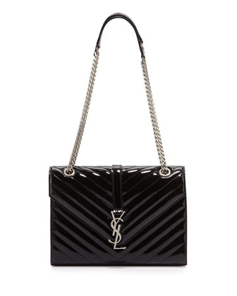 Monogram Small Calf Chain Shoulder Bag, Black