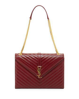 Monogram Matelasse Large Chain Shoulder Bag, Dark Red