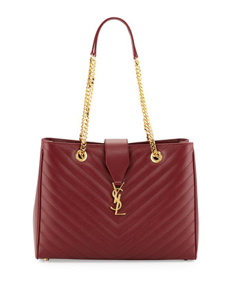 Monogram Medium Matelasse Calf Chain Tote Bag, Dark Red