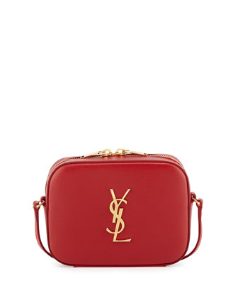 Monogram Camera Small Calf Crossbody Bag, Red