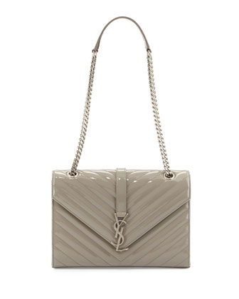 Monogram Small Calf Chain Shoulder Bag, Light Gray