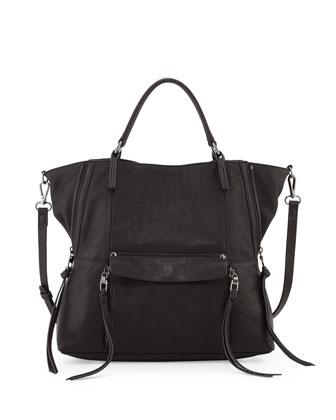 Everette Leather Satchel Bag, Black