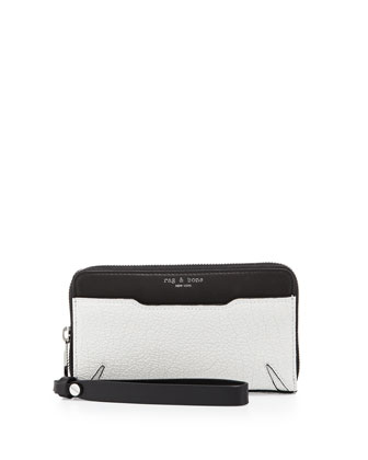 Devon Mobile Zip Wallet, Black/White Crackle