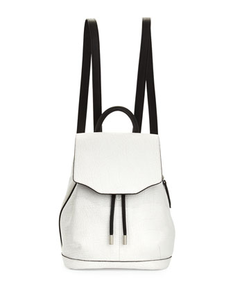 Mini Pilot Leather Backpack, White Crackle