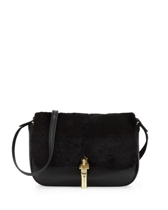 Cynnie Nano Shearling Fur Crossbody Bag, Black
