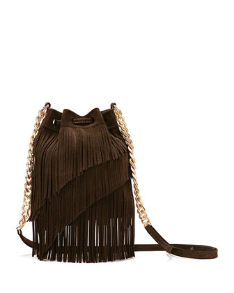Suede Fringe Pouch Crossbody Bag, Chocolate