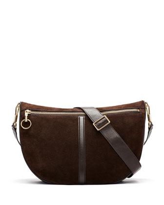 Scott Suede Half-Moon Crossbody Bag, Chocolate