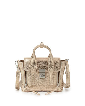 Pashli Mini Satchel Bag, Nude/Platinum