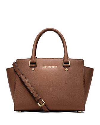 Selma Medium Top-Zip Satchel Bag, Luggage