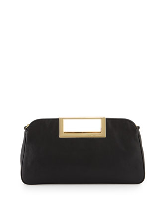 Berkley Large Leather Clutch Bag, Black