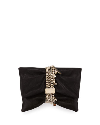Chandra Shimmery Suede Clutch Bag, Black