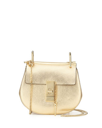 Drew Mini Goatskin Chain Shoulder Bag, Pale Gold