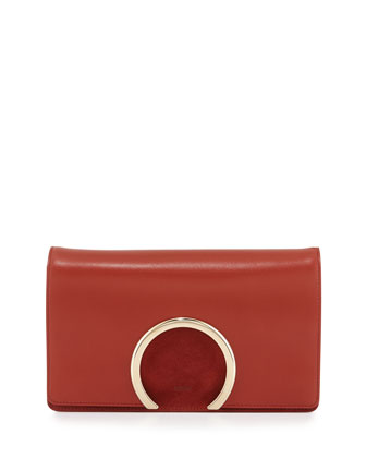 Gabrielle Lambskin Clutch Bag, Saffron Red