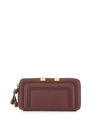 Marcie Calfskin Zip-Around Wallet, Bordeaux