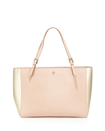 York Buckled Saffiano Tote Bag, Light Oak/Gold