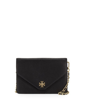 Kira Leather Envelope Clutch Bag, Black