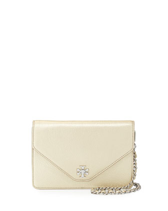 Kira Metallic Leather Envelope Clutch Bag, Light Gold