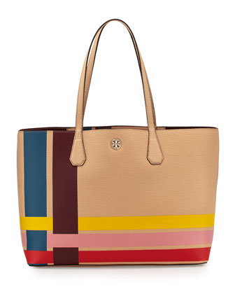 Perry Variegated-Stripe Tote Bag, Multicolor