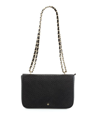 Robinson Perforated Flap Bag, Black
